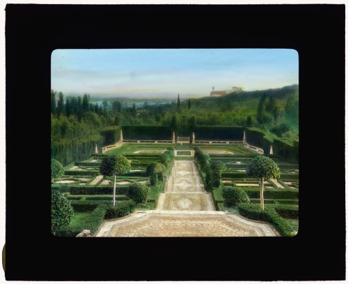 Colour photograph of the terrace garden at Villa I Tatti, Florence, taken in 1925 by Frances Benjamin Johnson (1864-1952)