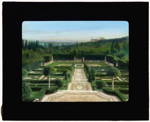 Colour photograph of the terrace garden at Villa I Tatti, Florence, taken in 1925 by Frances Benjamin Johnson (1864-1952)
