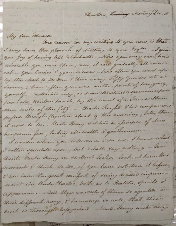 Letter written by Jane Austen on her final birthday