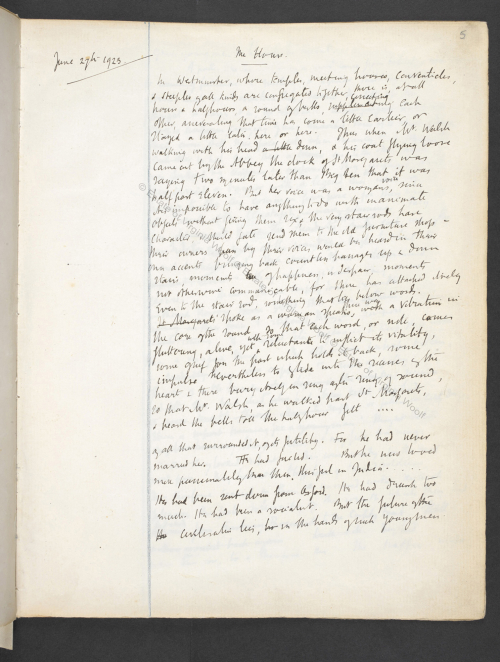Photograph of manuscript draft of Mrs. Dalloway from notebook by Virginia Woolf