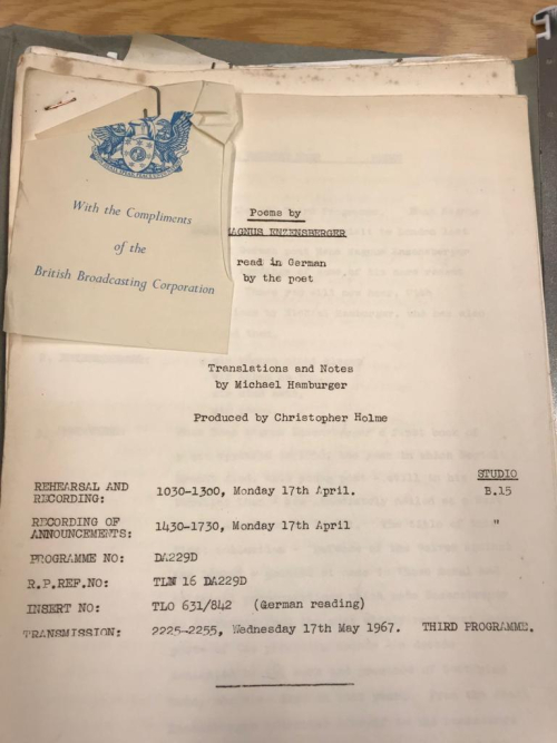 Copy of BBC schedule for a recording of Hans Magnus Enzensberger's poems in 1967