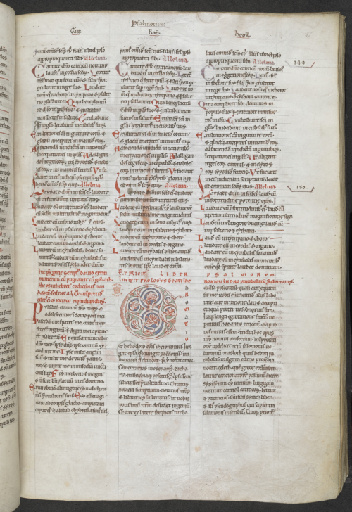 The end of Psalms and the beginning of the prologue to Proverbs, written in three columns