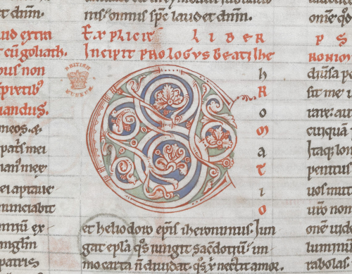Deatil of the decorated initial at the beginning of the prologue to Proverbs