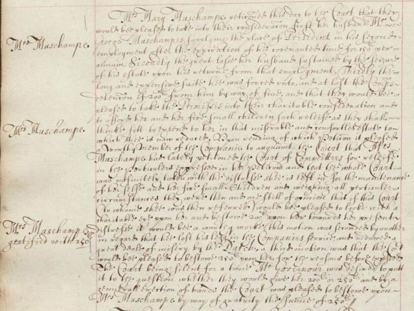 Grant of £250 to Mary Muschamp noted in the Court Minutes of the East India Company