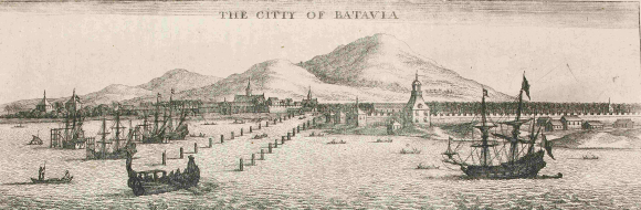 The city of Batavia from the sea, with ships in the foreground