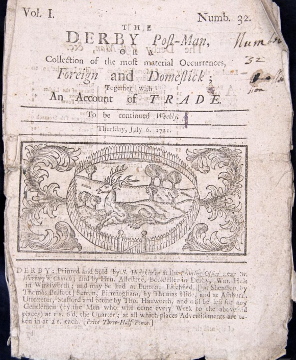 The Derby Post-Man dated Thursday 6 July 1721.