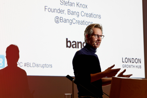 Stefan Knox, from Bang Creations, on stage at the British Library