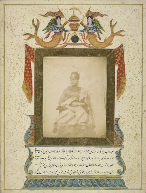 Picture of Nawab Raj Begum Sahibah one of the concubines of the Sultan ... aged 23 years. Dated 1271 (1854/55) .. of the kingdom of Lucknow', photographed by Ahmad Ali Khan, c. 1855.