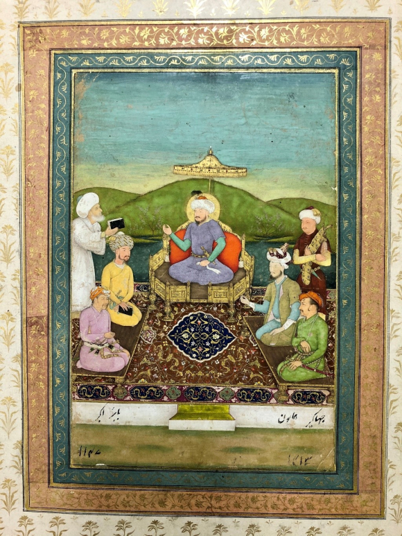 Timur, seated on a central raised couch, surrounded by his seated Mughal heirs
