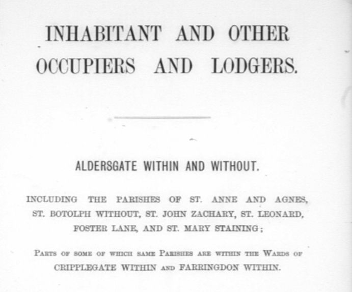 image of title page for Electoral Register for Aldersgate Within and Without
