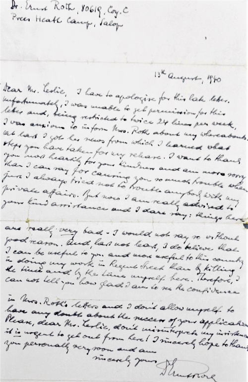 Handwritten letter by Ernst Roth