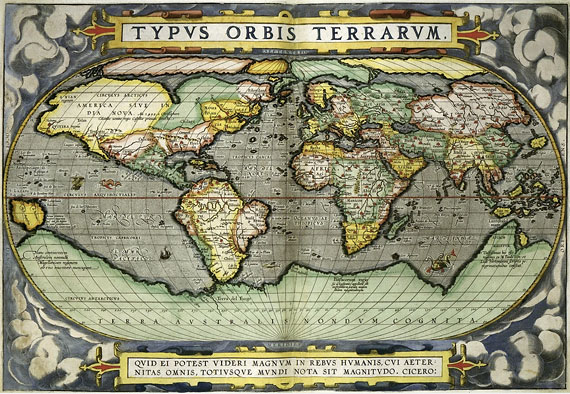 Map of the world published in 1570 by Ortelius