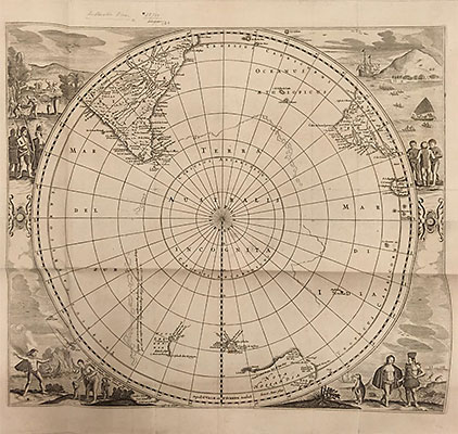 Map of the southern hemisphere published in 1690 by Hondius