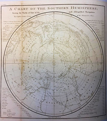 Chart of the southern hemisphere published in 1777 by Captain James Cook