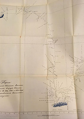 Facsimile of a manuscript chart of the Southern Ocean made in 1820 by Fabian Bellingshausen