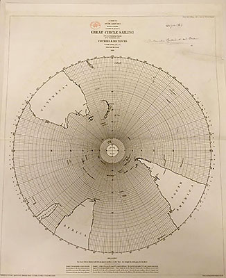 Chart of the southern hemisphere published in 1858 showing great circle sailing routes