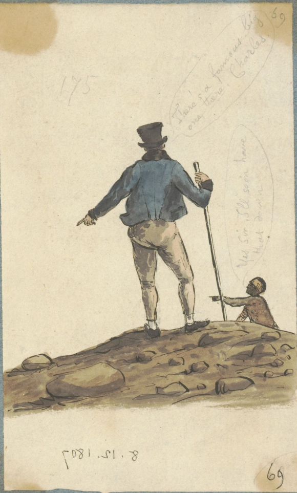 Sketch of Mr. Burchell directing Charles - St Helena Journal