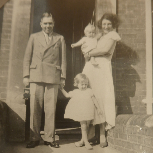 The Garrod family in 1933 - parents with two small children