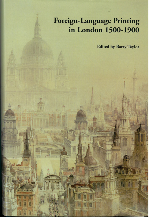 Cover of  'Foreign Language Printing in London', with a picture of Christopher Wren's architectural works by C. R.Cockerell