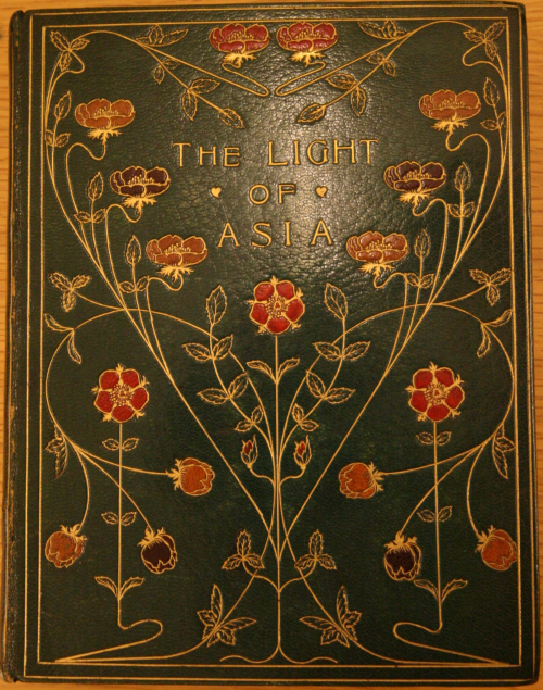 Embossed decorated front cover of a special edition of Sir Edwin Arnold's The Light of Asia