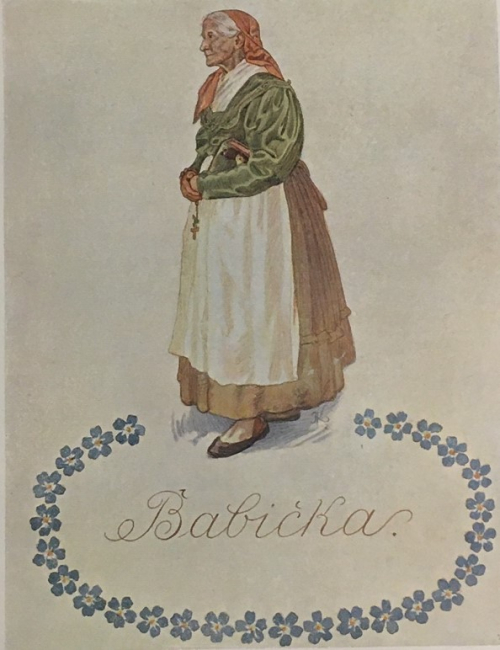 Illustration of the grandmother by Adolf Kašpar from Babička