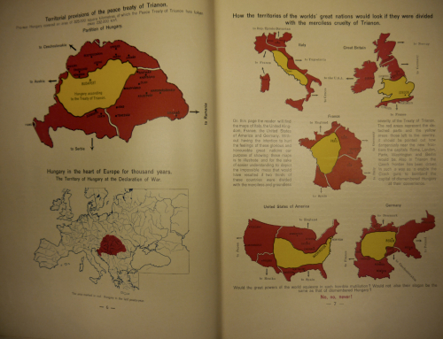 Pages from 'Justice for Hungary' with maps showing territorial provisions of the peace treaty of Trianon