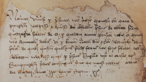 A legal document from the prioresses of Sempringham Priory, written in brown ink