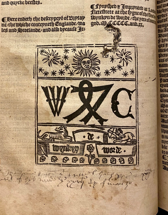 The distinctive Printer's Device used by Wynkyn de Worde on the last printed leaf of the Descrypcyon of Englande