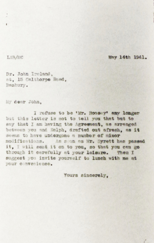 Letter from Leslie Boosey to John Ireland