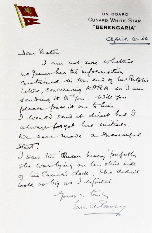 Letter from Leslie Boosey to Ralph Hawkes