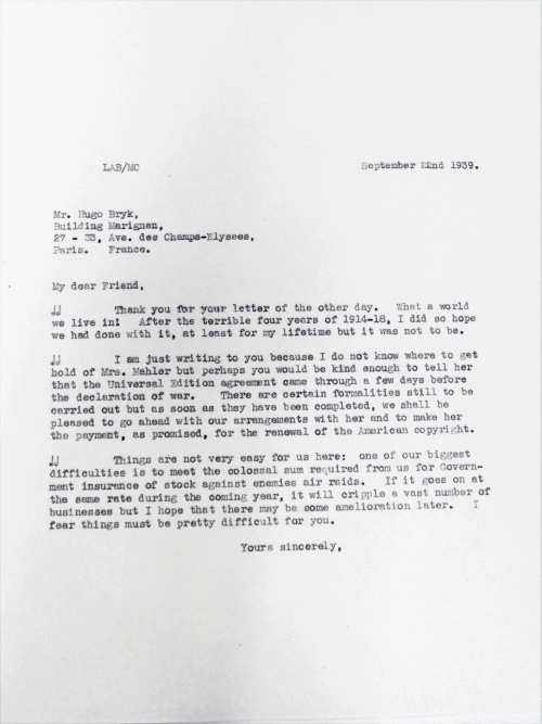 Letter from Leslie Boosey to Hugo Bryk