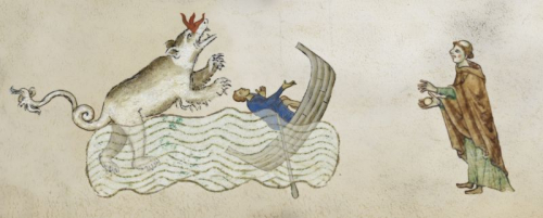 A photoshopped image of a medieval manuscript with a picture of the Loch Ness monster capsizing a boat with a monk looking on