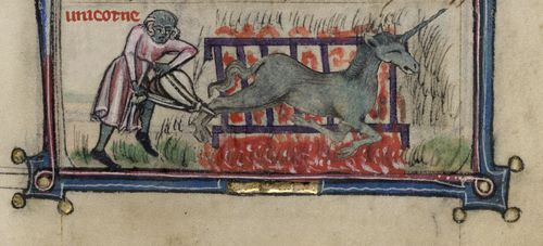 A photoshopped image of a medieval manuscript with a picture of a man cooking a unicorn on a grill