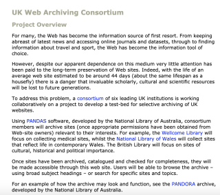 The original UK Web Archive Consortium website captured by the Internet Archive.