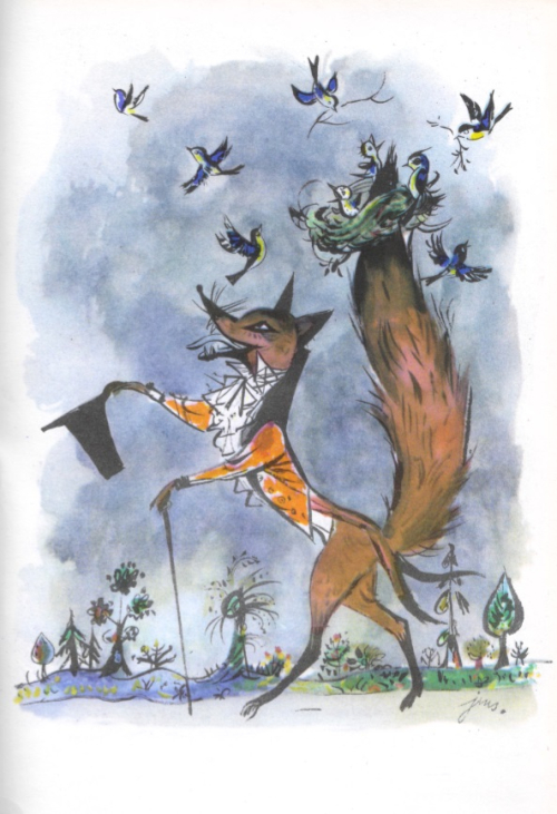 Illustration of Vitalis the Fox, walking on his hind legs with a nest of birds perched on his tail