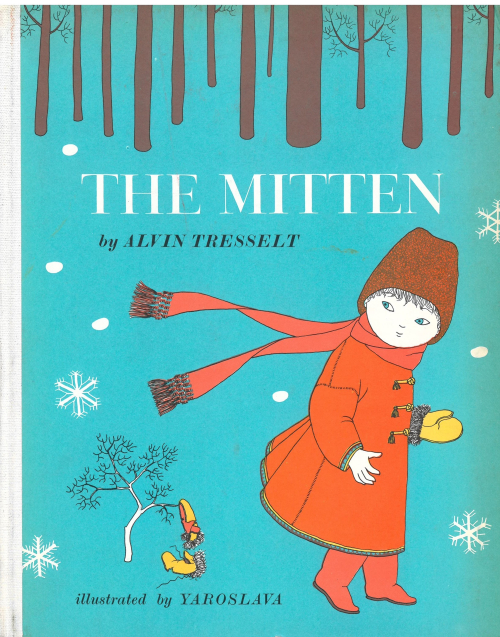 Cover of 'The Mitten', showing a child losing a mitten in a snowy wood