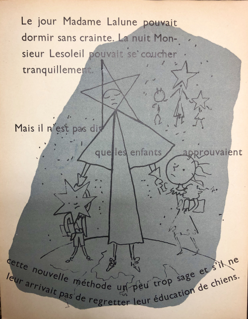 Final page of 'Drôle de Ménage'. The severe Nanny-Star holds the hands of the quiet, but now sad, children.