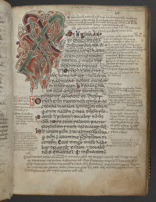 Medieval manuscript page with a decorated XPI initial