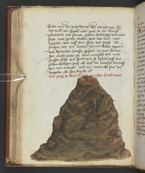 Coloured drawing of a mount with the body of St Catherine, wearing a golden crown, on the top.
