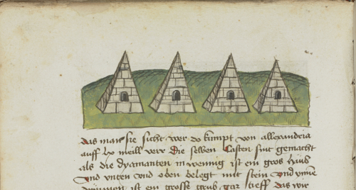 Close-up of a manuscript page with a coloured drawing of four pyramids in a row.