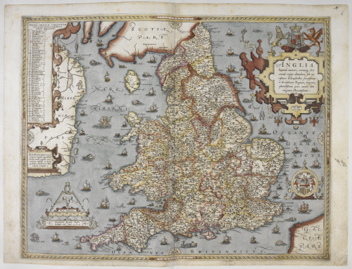 A coloured map of the counties of England