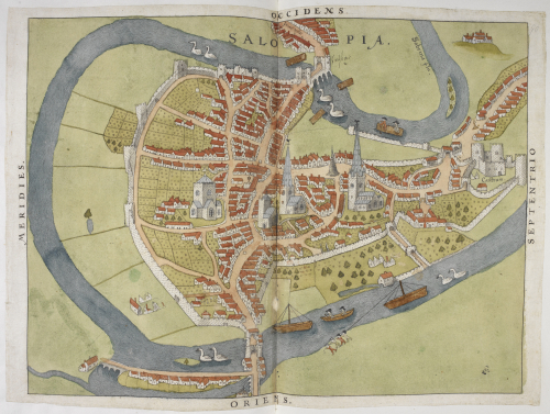 A coloured manuscript map of Shrewsbury