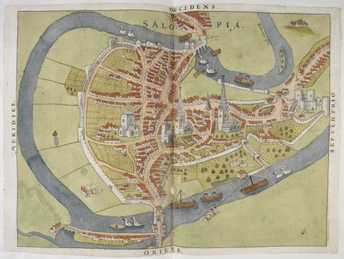 A coloured manuscript map of Shrewsbury