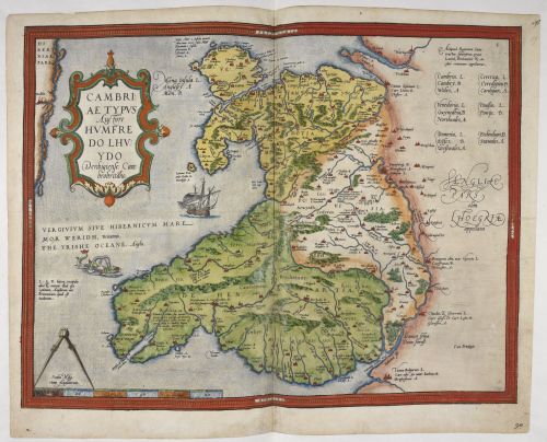 A coloured map of Wales