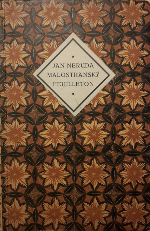 Cover of 'Malostranský feuilleton' with a floral, geometric design