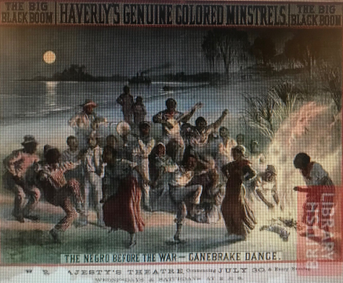 An advert for a minstrel show, depicting a group of around 15 people singing and dancing in the moonlight by the side of a river
