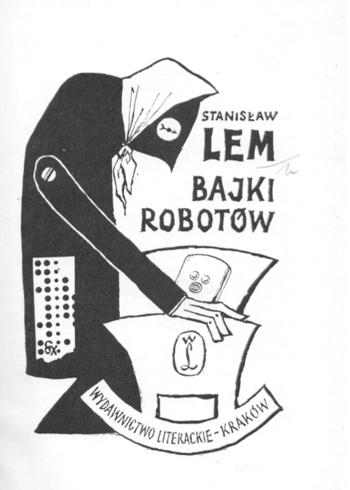 Title page from 'Bajki Robotów'. A robotic figure wearing a headscarf rocks a robot baby in a cradle.