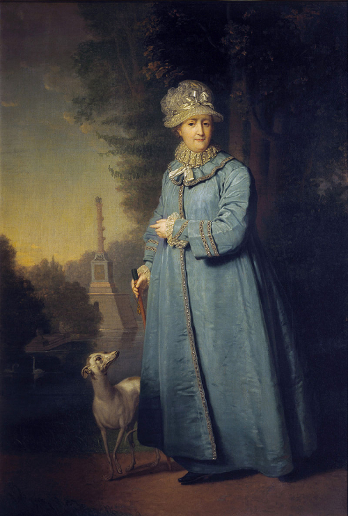 Portrait of Catherine the Great walking with a dog