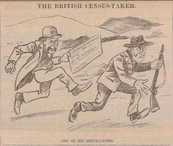 1901 census - cartoon of  an enumerator with a census schedule chasing a man with a gun