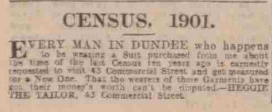 1901 census advert for Heggie the tailor in Dundee